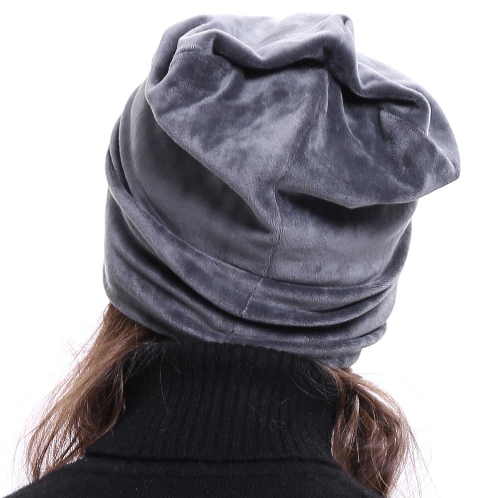 b6243b8952fba ... Geebro Women s Velour Beanie Hat Winter Polyester Soft Warm Slouchy  Beanie for Women Ladies Velvet Balavaca ...