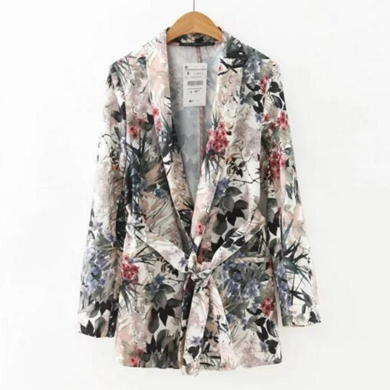 Retro Leaves Flower Print Sashes Waist Blazer Casual Woman Shawl Collar Slim Fit Mid Long Suit Jacket Coat Outerwear With Belt