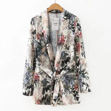 Buy Retro Leaves Flower print Sashes Waist Blazer Casual Woman Shawl Collar Slim Fit Mid long Suit Jacket Coat Outerwear With Belt occupation