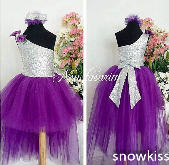 2016 Sliver Sequin One-Shoulder flower girls dresses glitz pageant dresses for little girls baby Birthday Party Dress ball gowns in stock layered pre teen party gowns little girls pageant dress pink color
