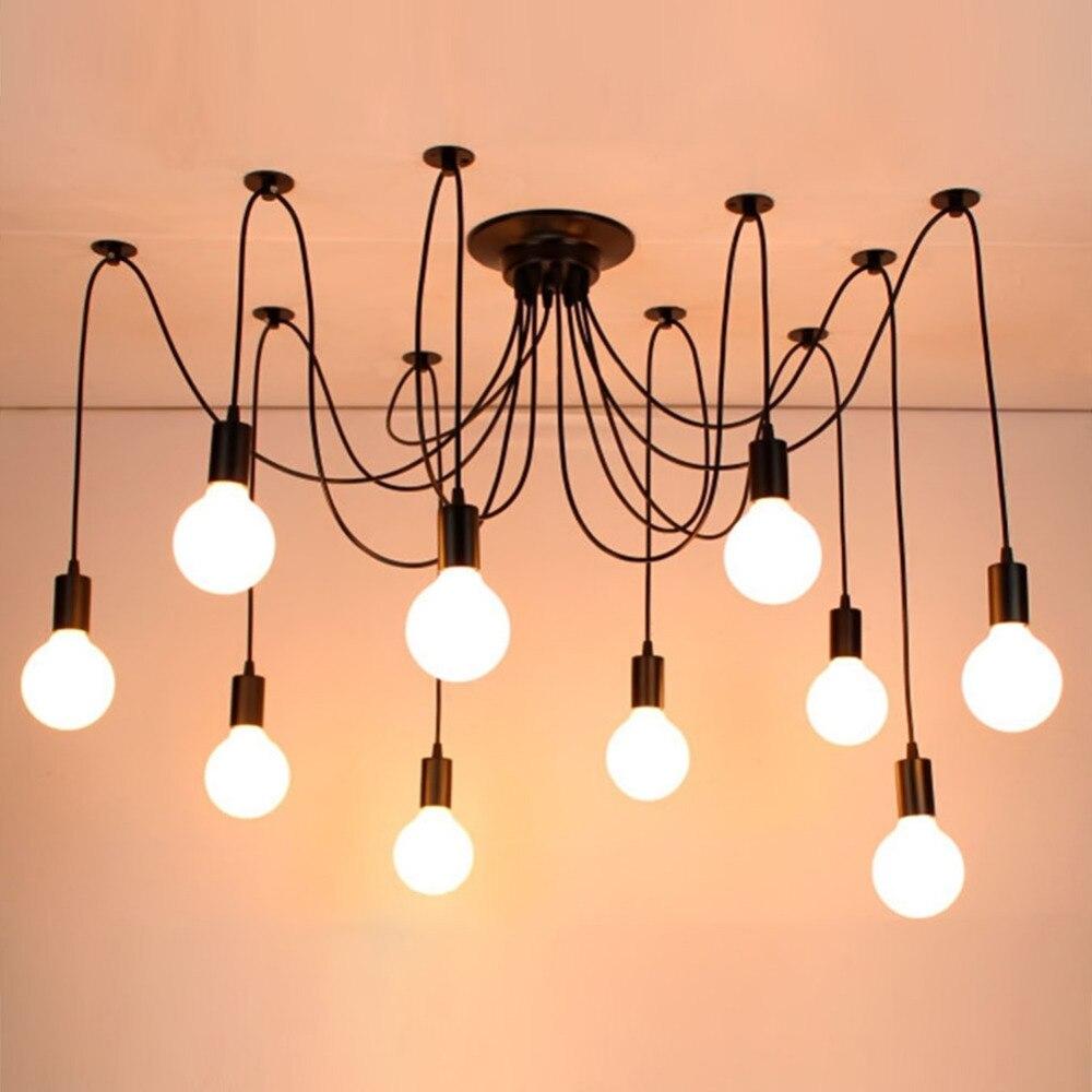 De spider hanglampen e27 10 14 hoofd loft amerikaanse moderne vintage lampen restaurantslaapkamer