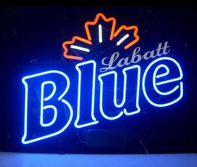 Custom Made Labatt Blue Glass Neon Light Sign Beer Bar