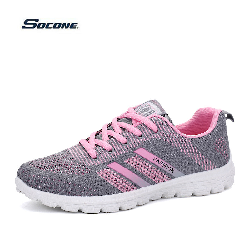 ФОТО 2017 New Sneakers Women Breathable Running Shoes Stripe Outdoor Sport Walking Shoes Non-slip Zapatillas Deportivas chaussure