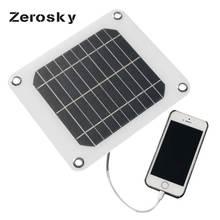 Zerosky 5V 5W Solar Panel Bank DIY Home Portable Solar Power Charging Panel Charger USB Solar Panel for Samsung Smart Phone