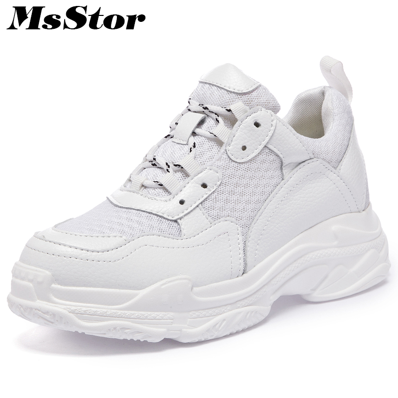 MsStor Mesh Breathable Flats Shoes Woman Fashion Casual Thick Bottom Height Increasing Women Shoes Sneakers Flat Shoes Women