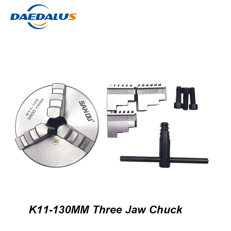 3 Jaw Chuck K11-130mm Self-Centering Manual Mini Drill Chuck Lathe Tool Three Jaw For CNC Engraving Milling Machine k11 100mm three jaw self centering chuck 3 jaw chuck manual chuck machine tool lathe chuck