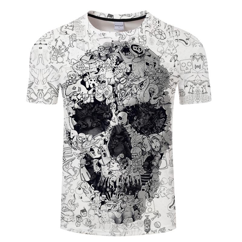 Camiseta blanca 3D calavera 4