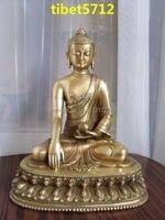 Тибетского Буддизма бронза Будда Шакьямуни статуя 21 см Бронзовая Отделка Будда Исцеление Статуя