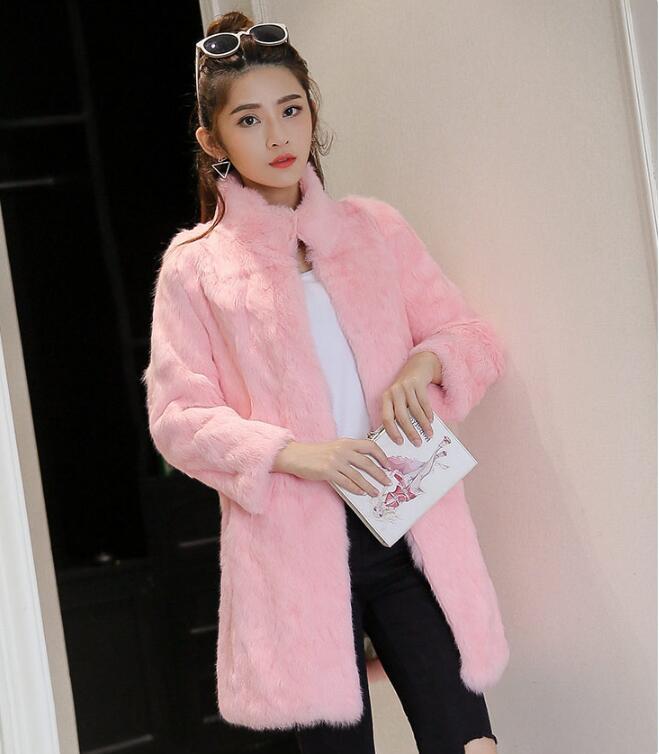 black Largo Real Mujer Para rose Invierno grey Piel Más pink Gratuito Abrigo De Completo Wsr335 Nuevo Conejo Chaqueta purple Envío Beige wYFUvFqB