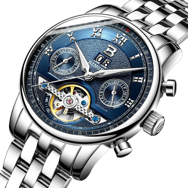 스위스 binger 남성용 시계 고급 브랜드 tourbillon 여러 기능 방수 기계식 손목 시계 B 8603M 5-에서기계식 시계부터 시계 의  그룹 1
