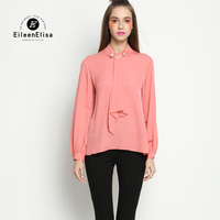 Work Wear Blouse High Quality Women Blouse And Tops Long Sleeves