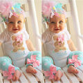 2pcs!!2016 New Toddler Kids Baby Girls Outfits Rabbit Short Sleeve Romper Top+Dot Bownot Leg Warmer Clothes Set