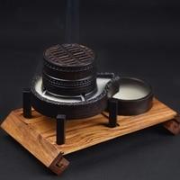 PINNY Creative Wooden Incense Burner Smoke Backflow Censer Wood Burner Furnace Coil Incense Holder Home Decor Sandalwood