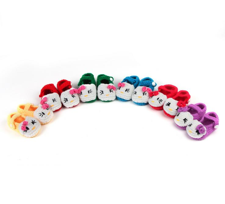 10 Pairs/lot Hot Sale Lovely Soft Baby Boys Girls Cartoon Cat Handwork Toddler Shoes Children's Crib Shoes 11cm Wholesale