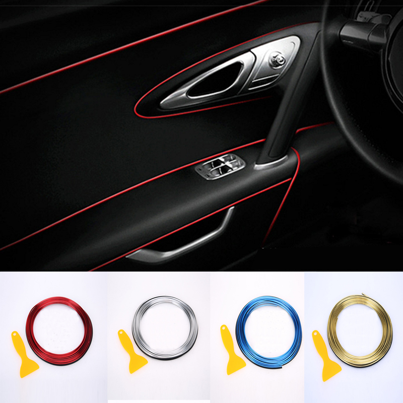 Car Interior Decoration Strips Moulding Trim Dashboard Door Edge Universal For BMW Lada Car  Accessories Strip Styling Sticker