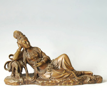 ATLIE BRONZES Bronze buddha statue Lying Guanyin figurines goddess of mercy Buddhist KWAN-YIN Chinese Buddha sculpture