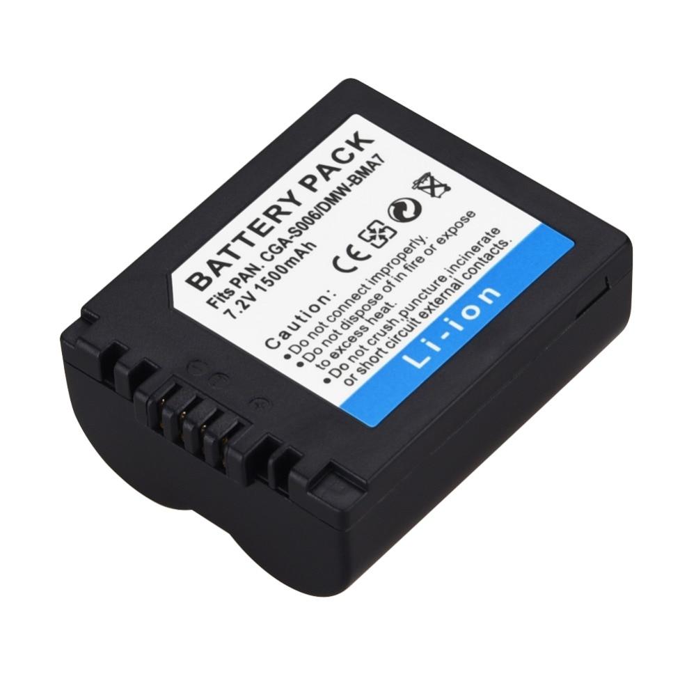 1 unid 1500 mAh CGA-S006 DMW-BMA7 CGR-S006E batería de repuesto para la batería de la Panasonic Lumix DMC-FZ7 FZ8 FZ18 FZ35 FZ28 FZ38 FZ30 Cámara