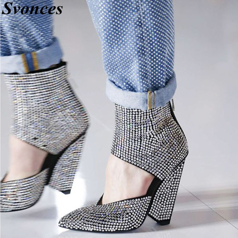 Ayakk.'ten Kadın Pompaları'de Gümüş Taklidi Yüksek Topuk Ayakkabı Kadın Ayak Bileği Wrap Tıknaz Başak Topuklu Sivri Burun Pompaları 2019 Tam Kristaller Pist parti ayakkabıları'da  Grup 1