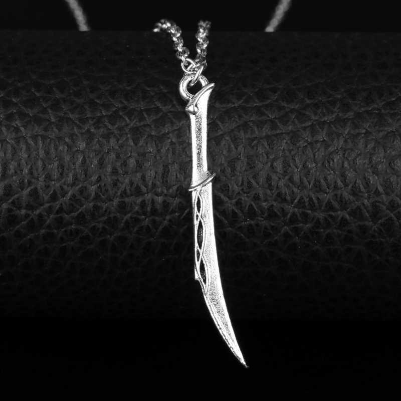 Dongsheng Pertempuran Pisau dari Tauriel Kalung Vintage Tauriel Belati Liontin Mirkwood Silvan Pedang Kalung untuk Wanita Pria