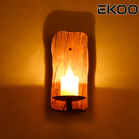 EKOO E14 Vintage Industrial Retro Wood Sconce Cafe Bar Wall Lamp Fixture Wall Loft Light Marble lamp holder