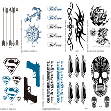 10 PCS 1 Lot Men And Women Waterproof Temporary Tattoo Stickers Personalized Pistol Pattern Fast Fake Body Art Flash Tattoo
