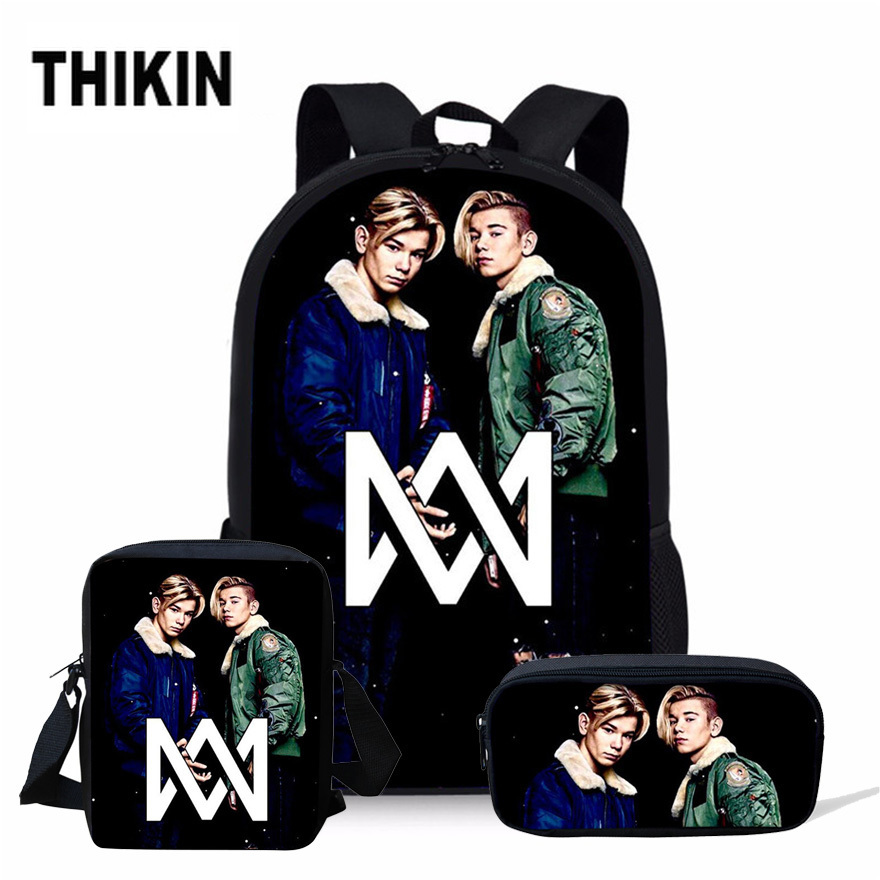 THIKIN Marcus And Martinus Print Teenager Girls Schoolbag 3PCS/SET School Bags Kids Backpacks For Boys Children Mochila Escolar