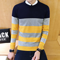 New Fashion Spring Autumn Pullover casual Sweater Men High-quality Knitted Sweater Stripe Mens Sweaters And Pullovers M-5XL