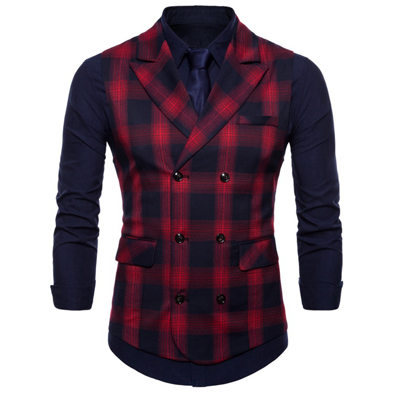 Double Breasted Vest Suit Men 2019 New Arrival High-quality Men's Casual Plaid Waistcoat Double Breasted Vest