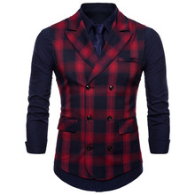 Double Breasted Vest Pak Mannen 2019 Nieuwe Collectie Hoogwaardige heren Casual Plaid Vest Double Breasted Vest(China)