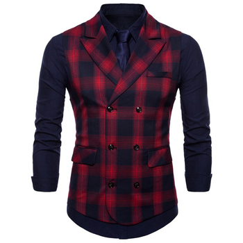 Mens Double Breasted Casual-Vests