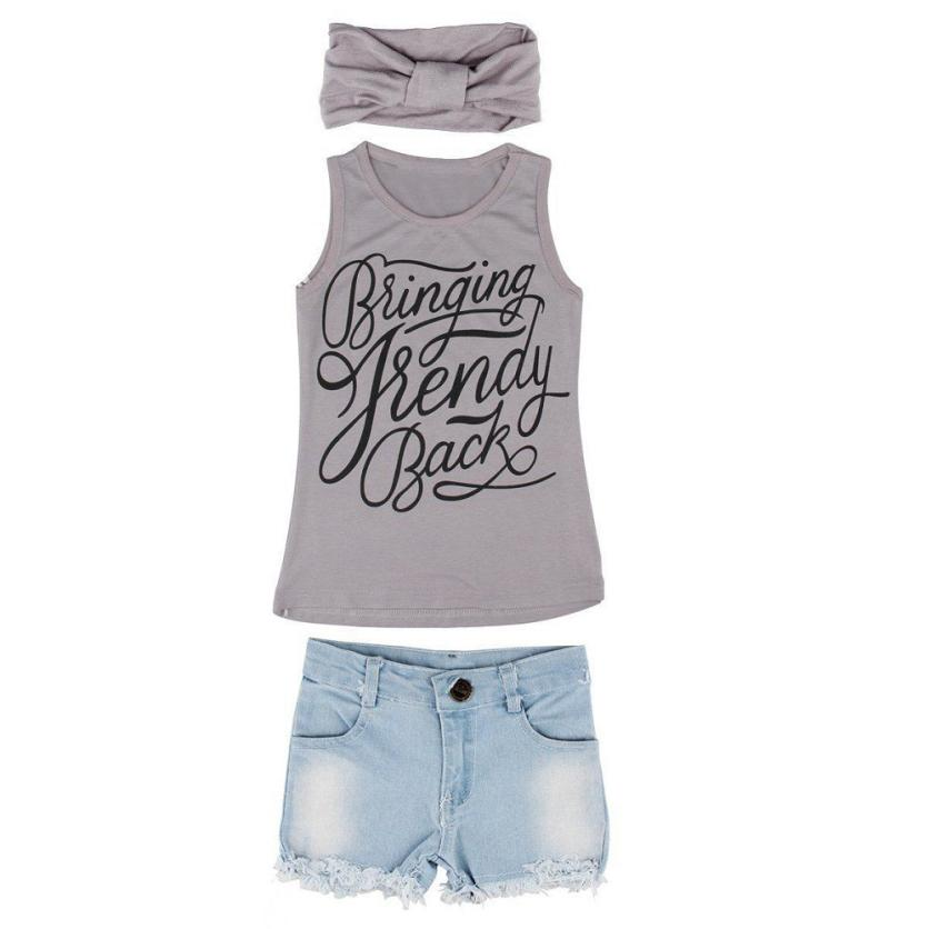 kids clothing Baby Girls Vest Top Clothes + Jeans Pants Shorts+Scarf Suit Outfit sobretudo femininoroupa menina Dropshipping
