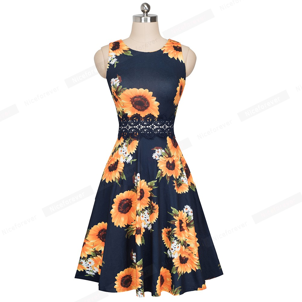 Nice-forever Vintage Elegant Embroidery Floral Lace Patchwork vestidos A-Line Pinup Business Women Party Flare Swing Dress A079 108