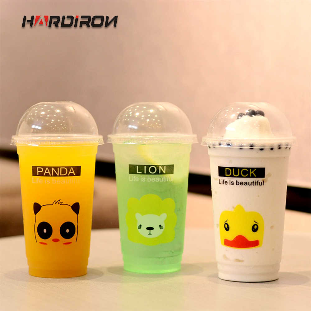 HARDIRON 100PCS Thickened Disposable Transparent Plastic Cup Cartoon Animal PP Juice Milk Tea Cold Drink Packaging Cup