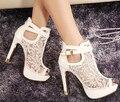 2016 Nuevo Cordón Mujeres de la Plataforma Bombas Sandalias de Malla Blanca Negro Tacones Altos Zapatos Peep Toe
