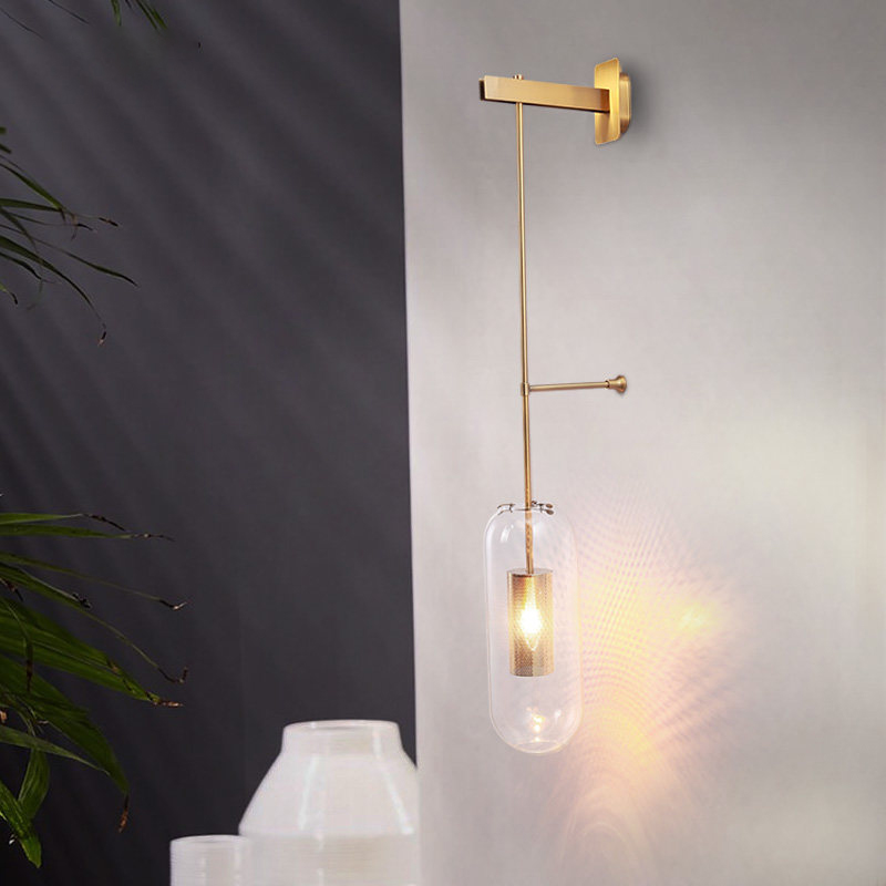 Creative design wall lamp loft wall sconce bean glass glass ball led wall ight foyer bedroom bedside corridor lighting fixture