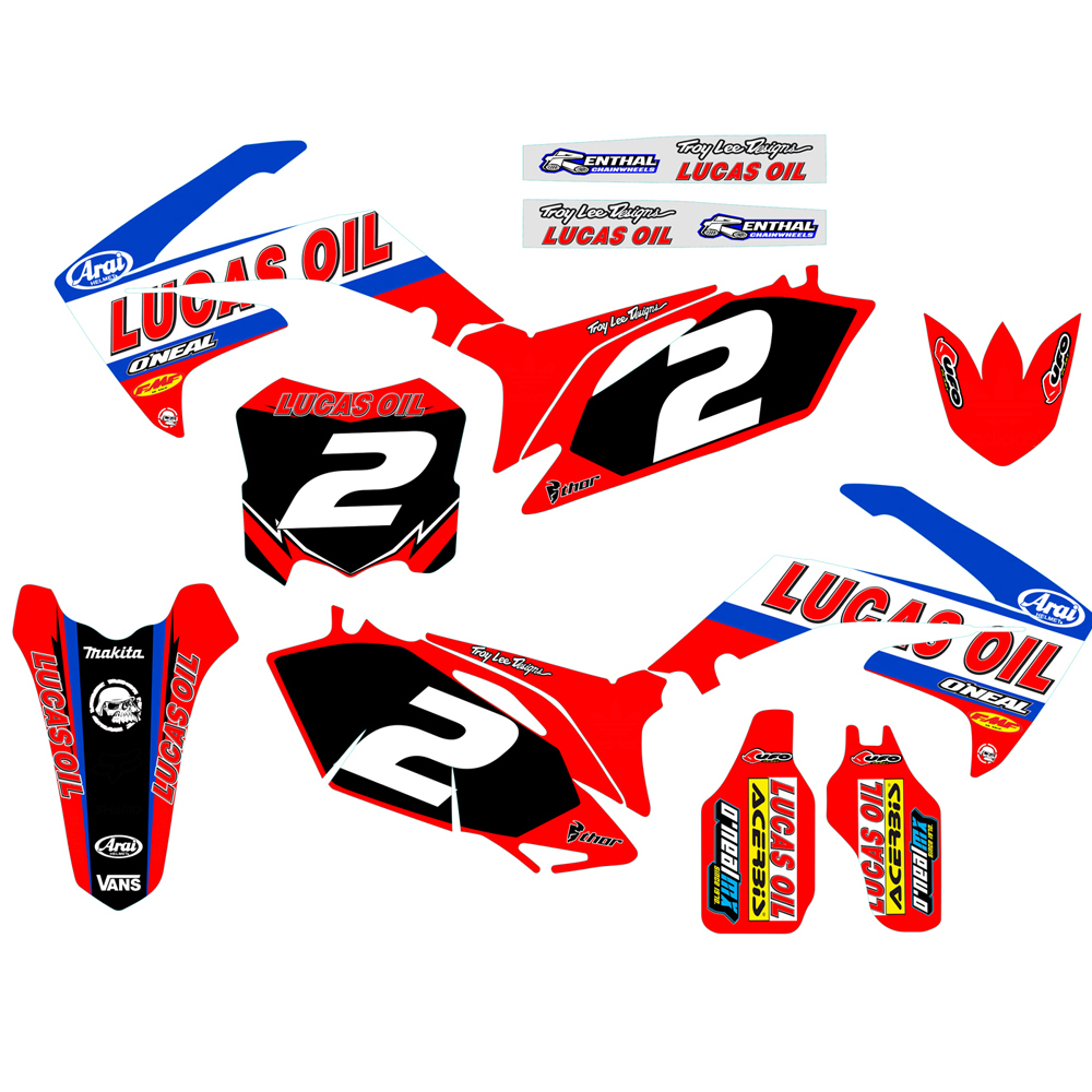 Customized Number Gloss GRAPHICS BACKGROUNDS DECAL STICKER for Honda CRF250R CRF250 2010 2011 2012 2013 CRF