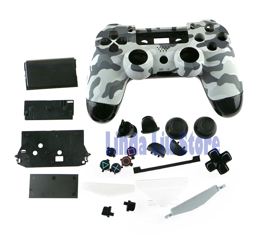 ChengChengDianWan Camouflage Shell Housing Case With Full Small Keys  Conductive Parts For Playstation 4 PS4 wireless Controller