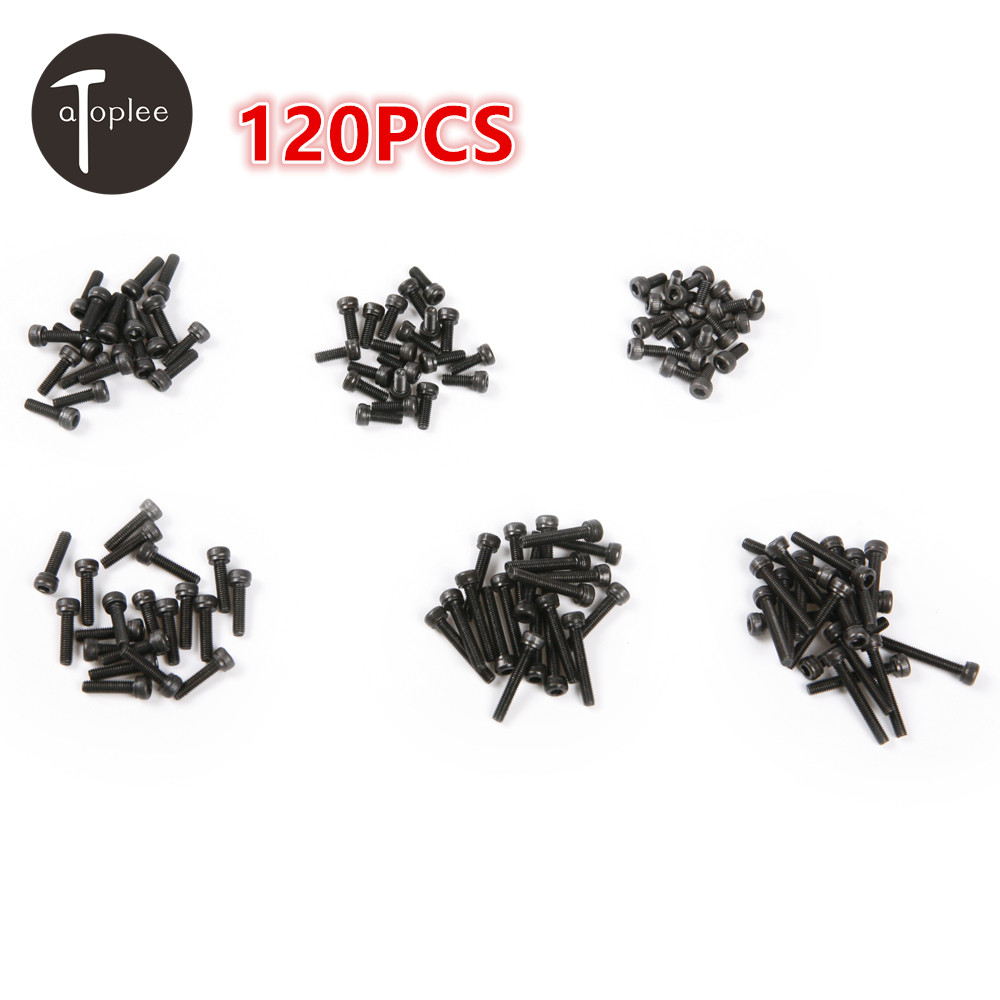 120pcs M3 6/8/10/12/18/20mm 6 Sizes Black Hex Socket Head Cap Screw Alloy Steel For Higher Mechanical Properties 160pcs m3 nylon button head bolt hex socket screw cap black assortment kit 5 6 8 10 12 15 18 20 mm with box
