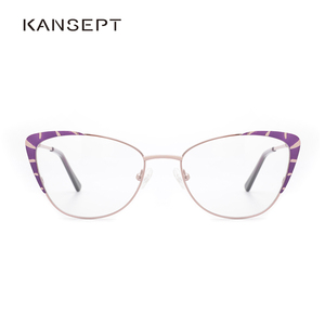Image 5 - Metalen Brilmontuur Vrouwen Paars Mode Brillen Bril Kat Bril Frame Voor Vrouwen 2019 Nieuwe Model # TF2199C3