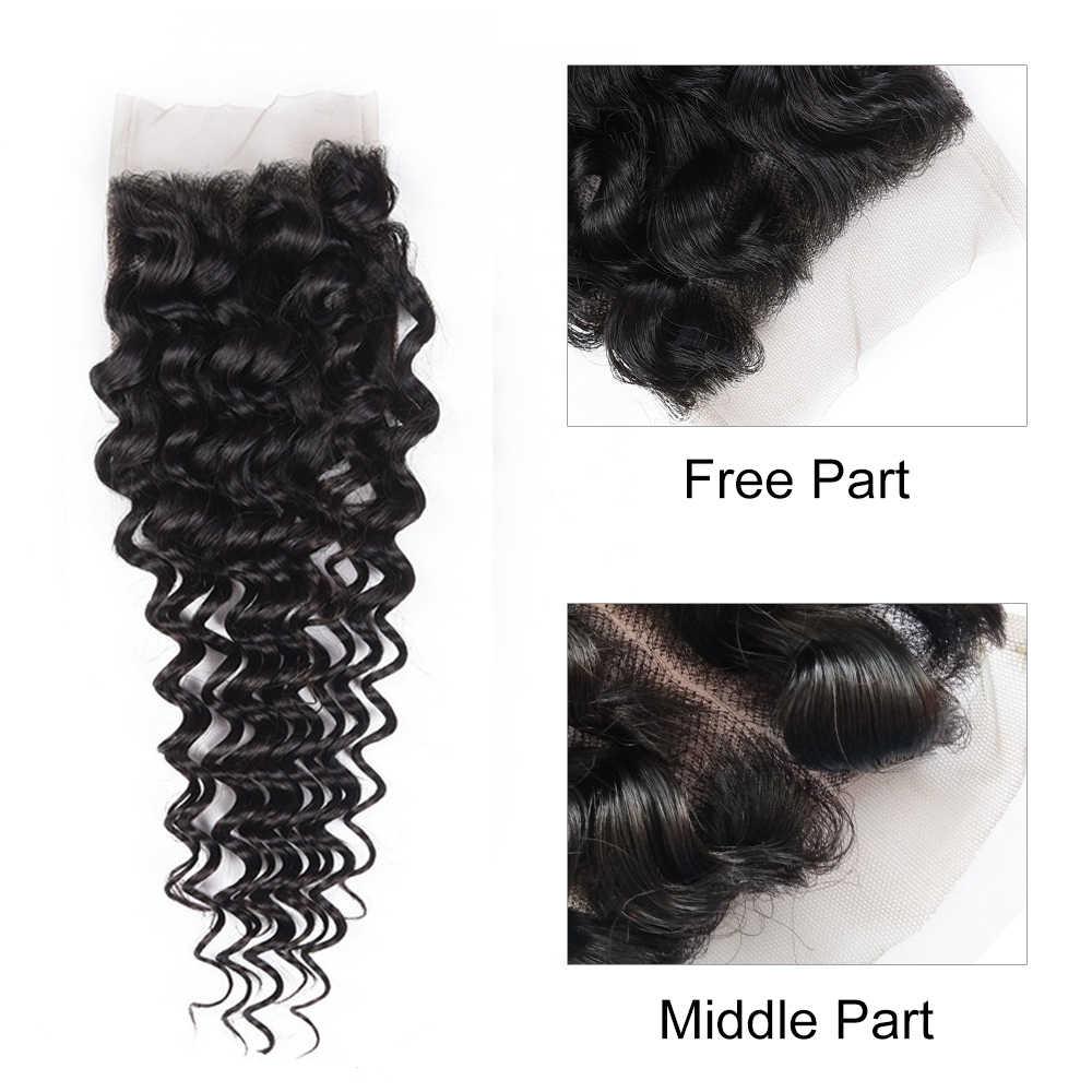 """Без косточек 4 """"* 4 глубокая волна девственные волосы бесплатно/средняя часть закрытие 100% необработанные человеческие волосы кружева Фронтальная Бесплатная доставка"""