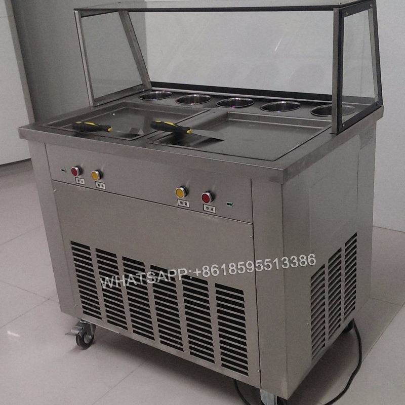 free ship 220v 110v double pan fried ice cream machine 1600w ice cream roll machine square pan frying cream maker r410a ice pan double pressure ice frying machine double pan fried ice cream machine
