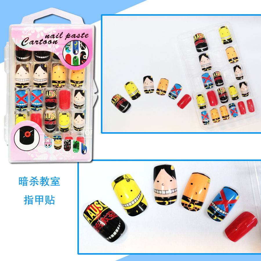 24 Pcs Set Anime Tokyo Ghoul Cosplay Nail Sticker Fake Fingernails False Nails Art