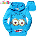 Keelorn 1pcs/lot 2017 despicable me 2 minion boys clothes, girls nova shirts, child Spring hoodies Tops & Tee