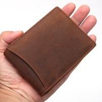Crazy Horse Genuine Leather Men Wallet Short Male Wallet Small Purse Coin Pocket Money Bag Vintage
