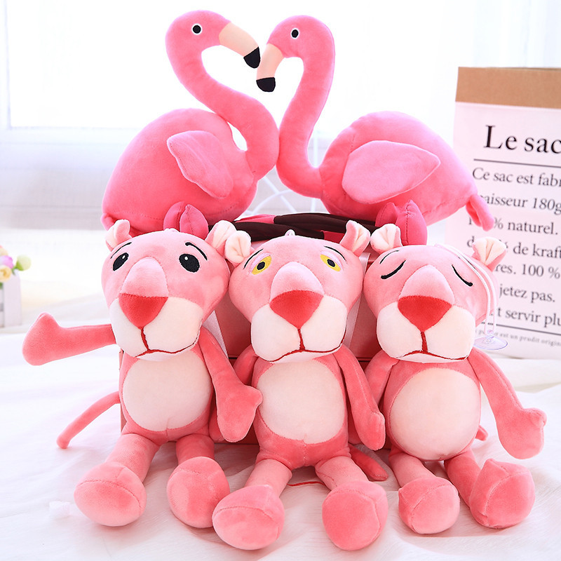 33/45cm Pink Panther And Flamingo Plush dolls Soft Toys Pink Leopard Baby Toys Free Shipping