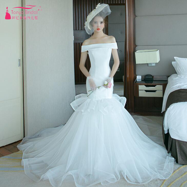 c7cb689fb09 Boat Neck Mermaid Wedding Dresses 2018 Simple Satin and tulle sweep train Bridal  Gowns ZW072