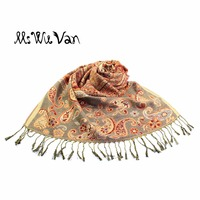Indian Paisley Tippet Nepali Winter Scarf Ethnic Scarves Cotton Stole Pashmina For Women Echarpe Colorful Shawls
