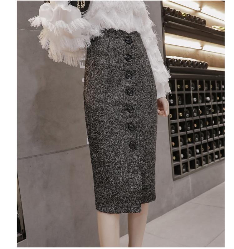 Neophil High Waist Woolen Button Pencil Midi Skirts Office Ladies Office Elegant Grey 19 Winter Wool Wrap Skirts Faldas S1738 11