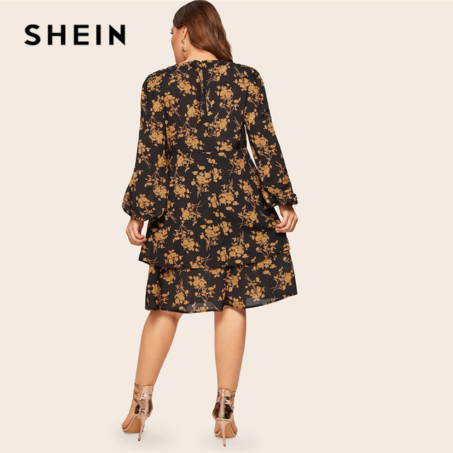 SHEIN Plus Size Multicolor Botanical Print Layered Button Ruffle Dress Women 2019 Spring Office Lady Knee Length Dress 1