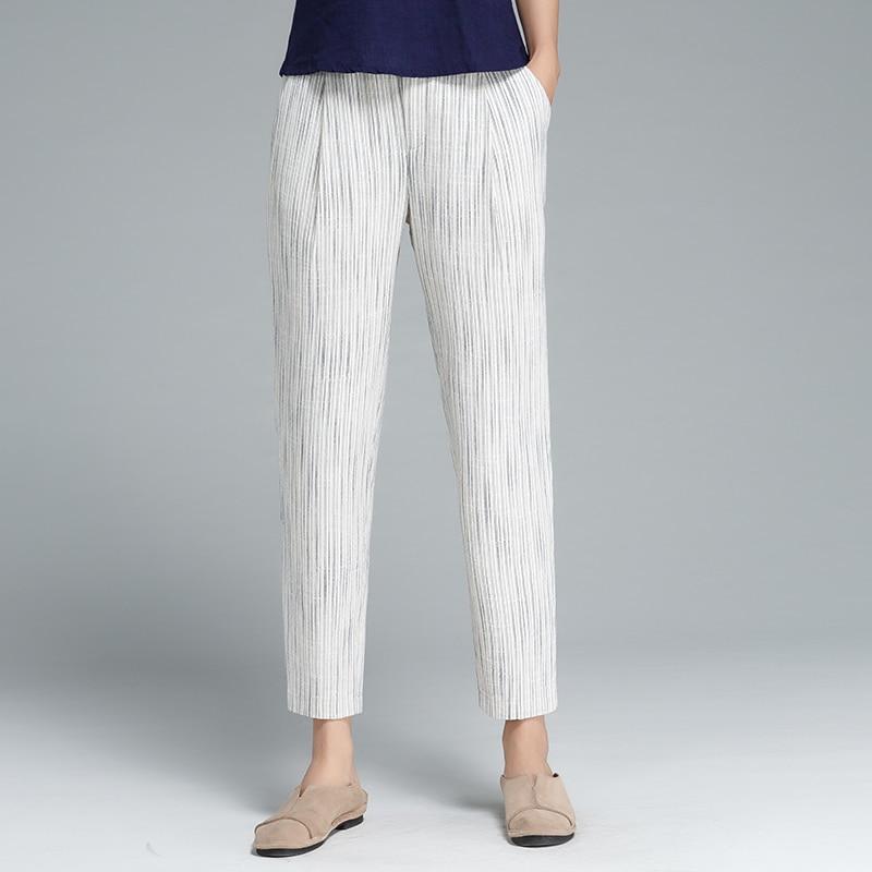 กางเกงผู้หญิง40%ผ้าลินิน40%ผ้าฝ้ายผสมกลางกระเป๋าเอวยางยืดกางเกงน่องยาวออกแบบที่เรียบง่ายพลัสขนาด2018แฟชั่นใหม่-ใน กางเกงและกางเกงรัดรูป จาก เสื้อผ้าสตรี บน   2